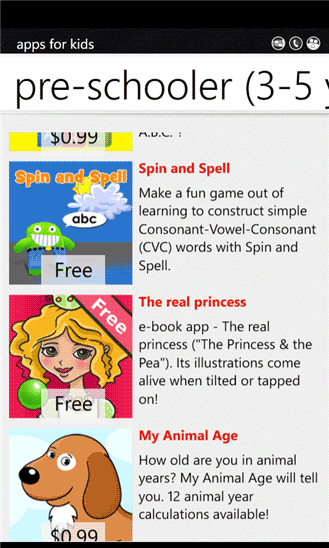 windows mobile apps for children