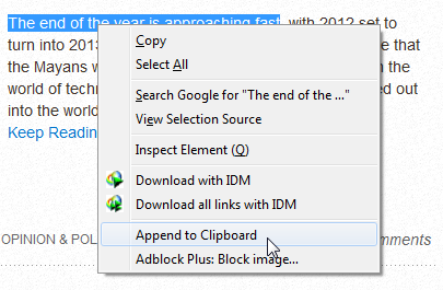 Append to Clipboard   Append to Clipboard: Append Webpage Text To System Clipboard [Firefox]