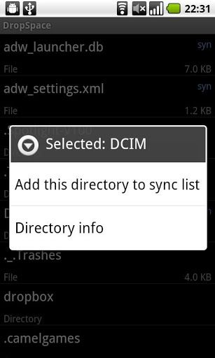 android sync sd card dropbox