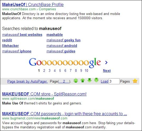 Makeuseof   AutoPager Chrome: Attach a 'Next' Page At The End Of Every Current Page