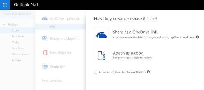 OneDrive with Outlook