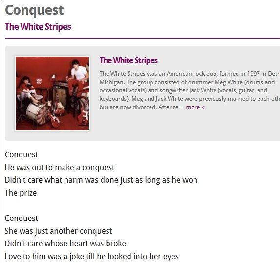 Stripes   Lyrics.Net: A Resource For Song Lyrics & Artist Bios