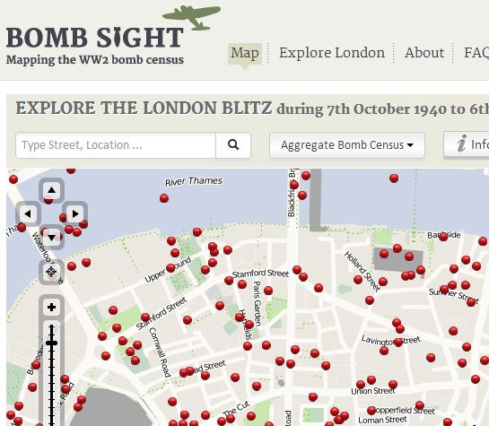 map of bombs dropped on london ww2