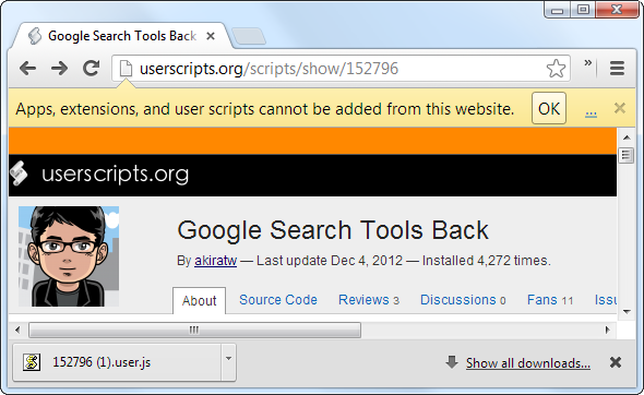 google search tools left sidebar