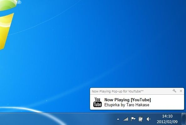 now playing pop-up for youtube