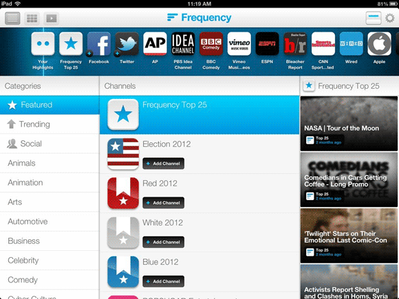 frequency 5   Frequency: A Beautiful Online Video Aggregator [iOS]