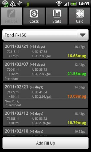 track gas mileage android