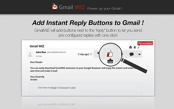gmailwiz0   GmailWiz for Chrome: Save Time Using Dedicated Buttons For Instant Replies