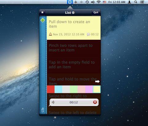 listlite1   List Lite for Mac: Simple Gesture Based List Management For Your Mac