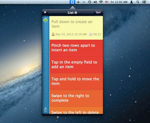 listlite2   List Lite for Mac: Simple Gesture Based List Management For Your Mac