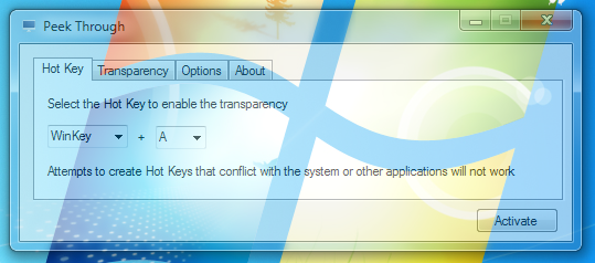 windows enable transparency
