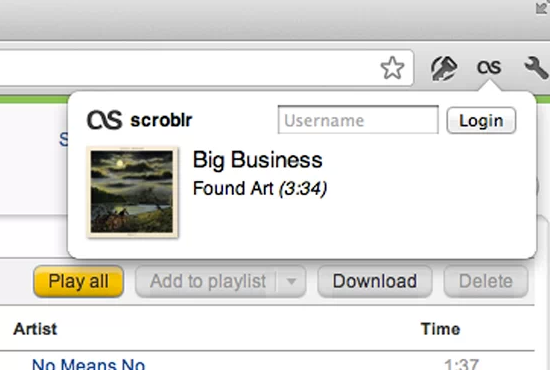 scroblr: Scrobbles The Music You Listen To On The Web To Last fm