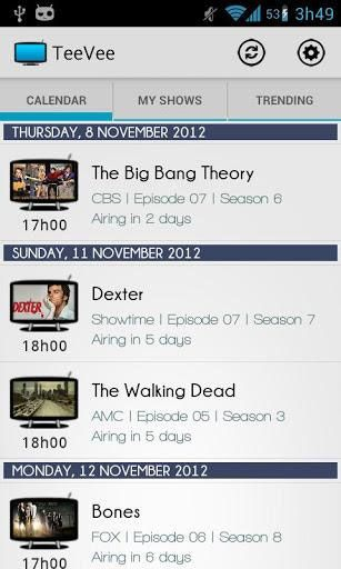 teevee   TeeVee Shows Guide: Get an Android Smartphone Calendar For Your Favorite TV Shows