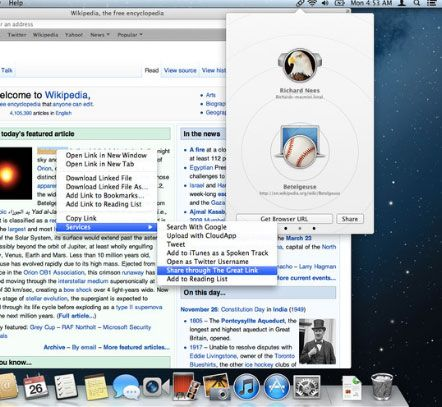 the great link1   The Great Link: Share Webpage URLs From Your Desktop Through Bonjour [Mac]