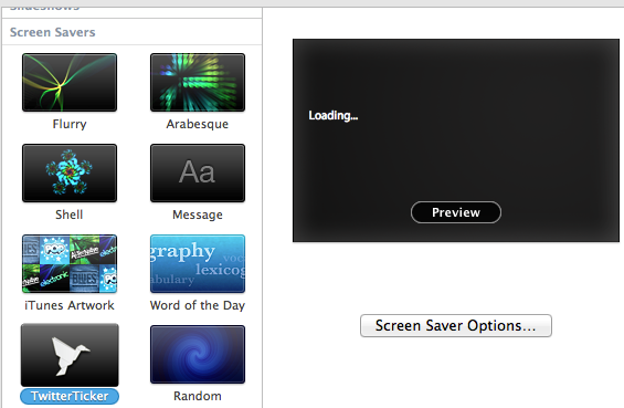 twitter timeline screensaver mac