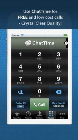 Chattime   ChatTime: Make Free & Cheap Calls Everywhere In The World [iOS]