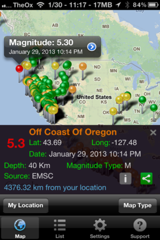 Quake Spotter - An Easy To Use Way To Track Earthquakes [iOS, Paid Apps Free] QuakeSpotter03