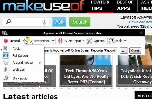 Record   Apowersoft Online Screen Recorder: An Online Java Application To Help You Record Screencasts
