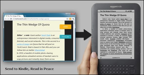 "Send To Kindle By Klip.me: Take All Your ""To Read"" Articles On The Go Without An Internet Connection [Chrome] Send To Kindle Web Image"