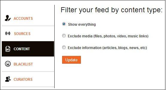 filter twitter feeds facebook