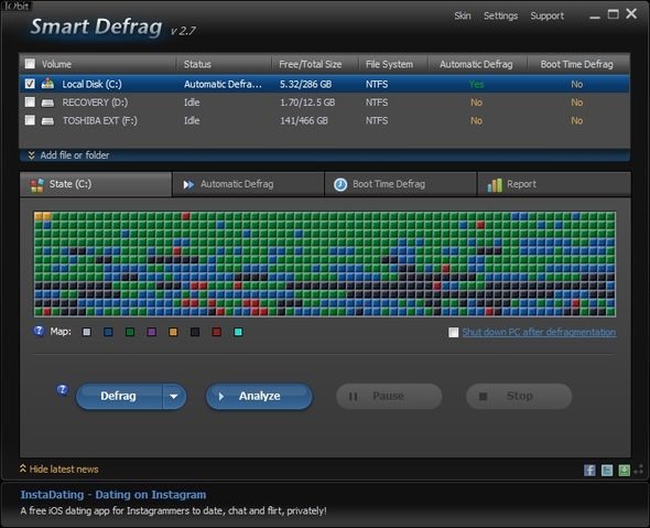 IObit Smart Defrag: A Superb Hard Drive Defragmentation & Optimization Tool [Windows] UI Window With Ad Banner
