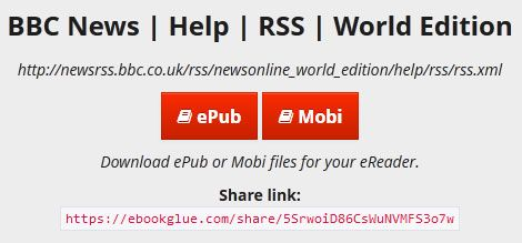 ebook glue1   eBook Glue: Convert RSS & Atom Feeds Into ePub & Mobi eBooks