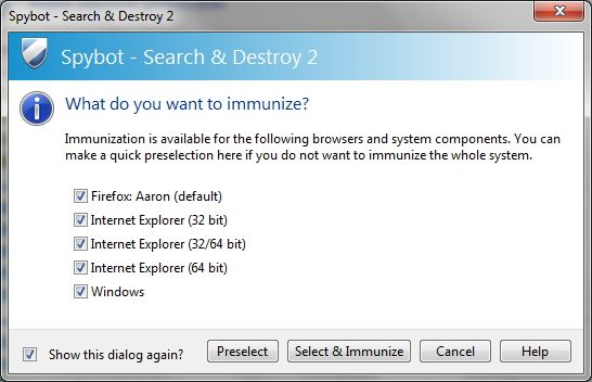 Spybot - Search & Destroy: The Simple, Yet Effective Route For Cleaning Your PC Of Malware immunize customize