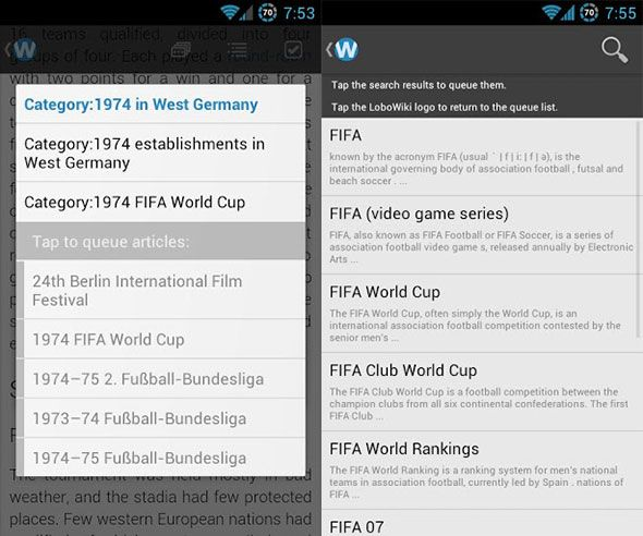 lobowiki2   LoboWiki for Android: Read Wikipedia Articles In An Elegant Manner On Your Android Phone