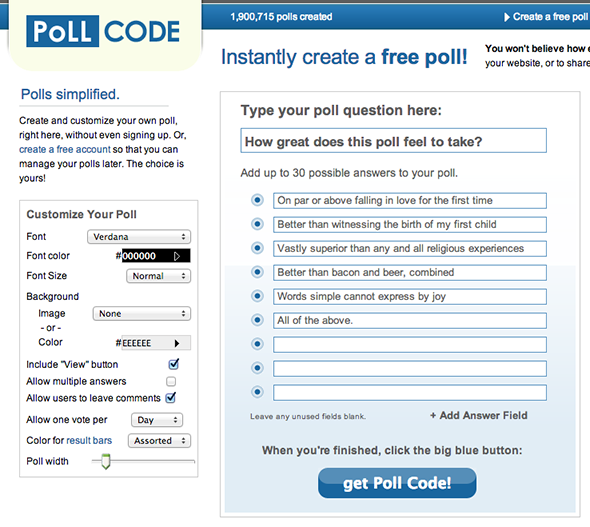 pollcode main   PollCode: Quickly Create & Embed Or Share A Single Question Poll