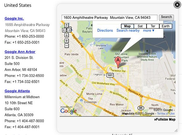 google map from address
