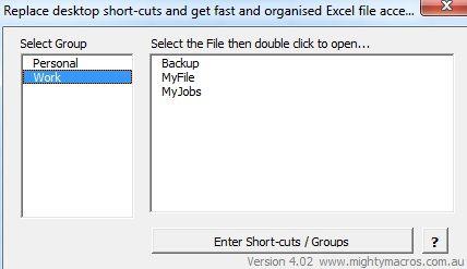 short cuts add in
