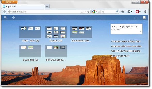 Super Start Your Day With Visual Bookmarks And A Simple To-Do List [Firefox] super start01