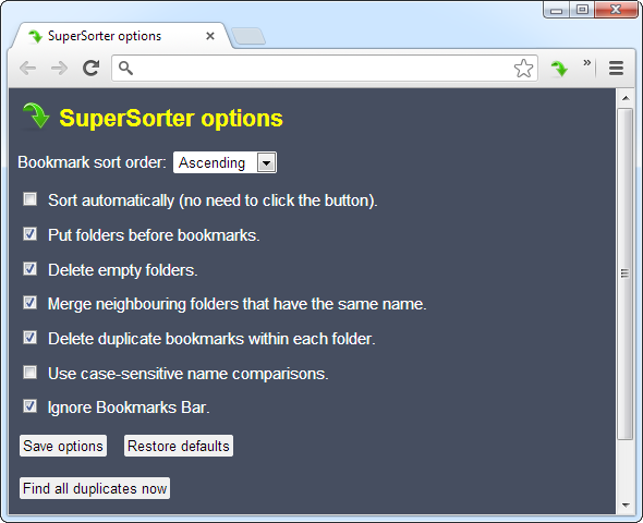 manage chrome bookmarks