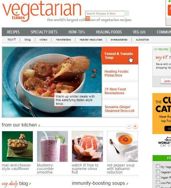 7 vegetarian recipe sites for the struggling former meat eater vegetarian recipes forumfinder Gallery