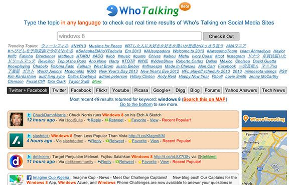 whotalking1   WhoTalking: A Multi Lingual Social Media Search Tool