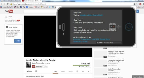 youtube couch   YouTube Couch Mode: View YouTube Videos In Full Screen By Default & Control Playback With Your Smartphone