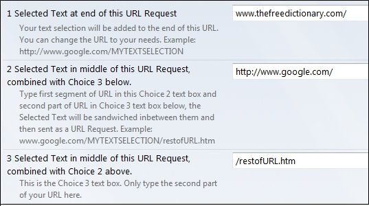 select text and request url