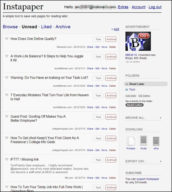 9 Tools to Save What You Read on the Web for Later Instapaper Unread