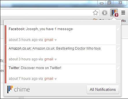 Notification   Chime: Get Notifications From Popular Web Services In a Single Place [Chrome]