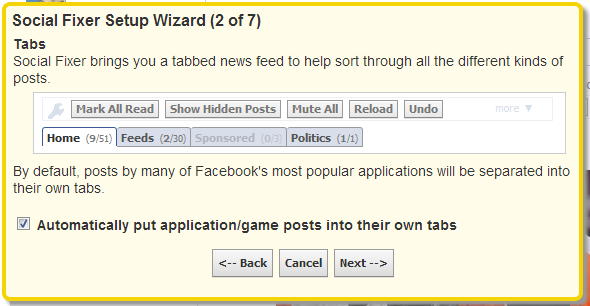 Clean Up Your Facebook News Feed With Social Fixer Filtering [Weekly Facebook Tips] Social Fixer Setup Wizard Tabs