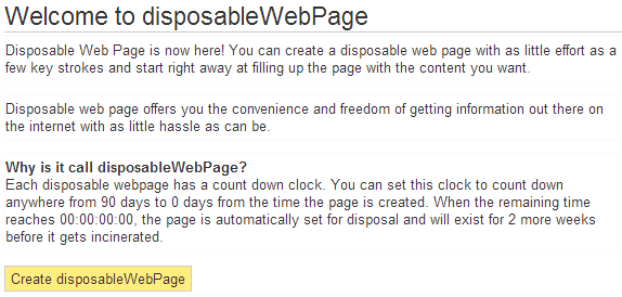create disposable webpage