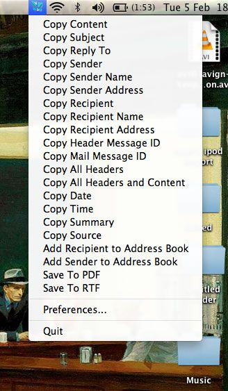 mail clips   Mail Clips: Send Mail.app Message Properties To The Clipboard [Mac]