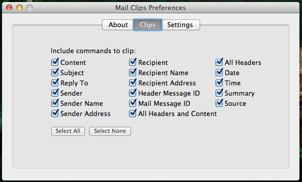 mail clips1   Mail Clips: Send Mail.app Message Properties To The Clipboard [Mac]