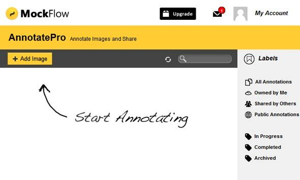startannotating   Mockflow AnnotatePro: Easily Annotate & Share Images Online