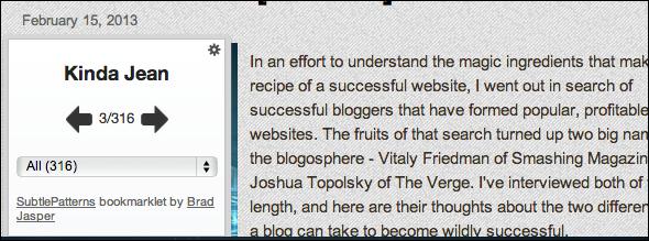 subtlepatterns2   SubtlePatterns Bookmarklet: Revise Your Websites Design