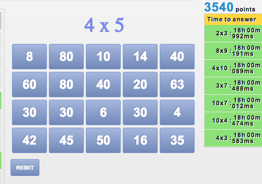 practice multiplication tables