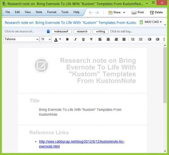 evernote templates