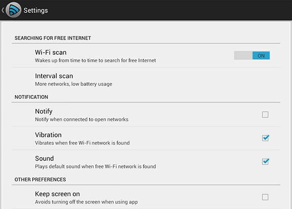 freezone settings   FreeZone Helps Android Users Find Free WiFi Access Points