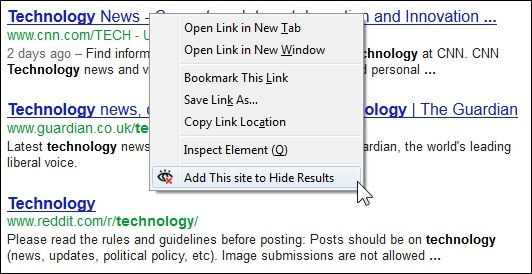 hide   Hide Unwanted Results Of Google Search: Exclude Results From Google Search Based On Website