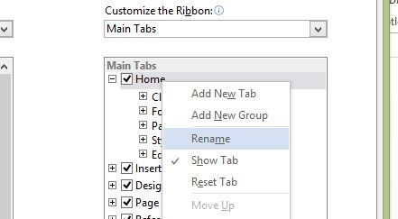 office ribbon interface